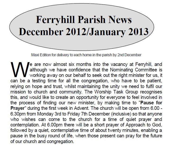 Parish News December 2012
