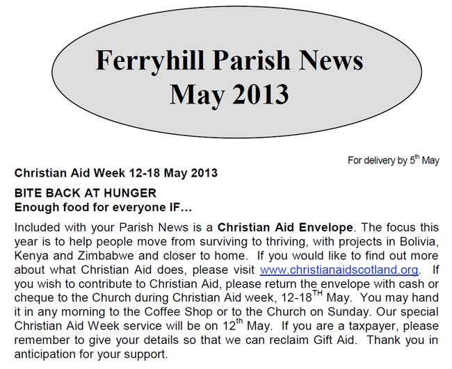 Parish News for May 2013